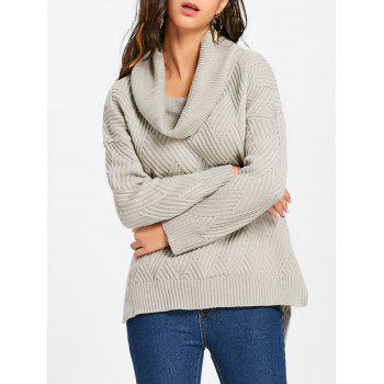 Cowl Neck Side Slit Knitted Sweater - GRAY GRAY