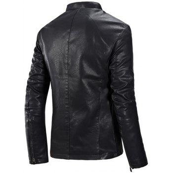 Zipper Up Casual Flocking PU Leather Jacket - BLACK 3XL