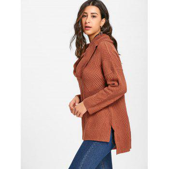 Cowl Neck Side Slit Knitted Sweater - BROWN 2XL