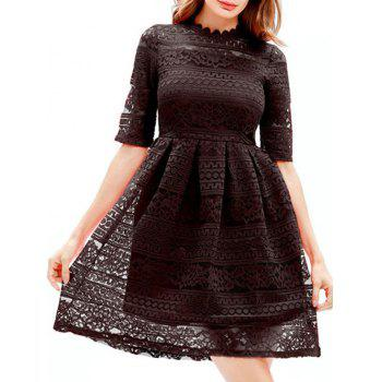 Mini Lace Embroidered A Line Dress - BLACK BLACK