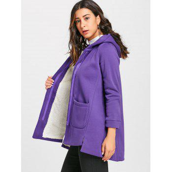 Manteau long zippé à capuche - Pourpre L