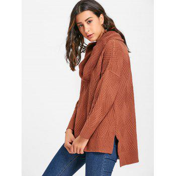 Cowl Neck Side Slit Knitted Sweater - BROWN M