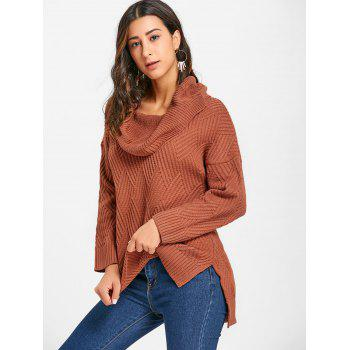 Cowl Neck Side Slit Knitted Sweater - BROWN BROWN