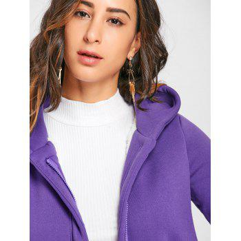 Hooded Long Zip Up Coat - PURPLE PURPLE