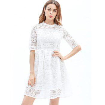Mini Lace Embroidered A Line Dress - WHITE L