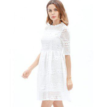 Mini Lace Embroidered A Line Dress - WHITE WHITE