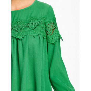 Crochet Lace Insert High Low Blouse - GREEN GREEN
