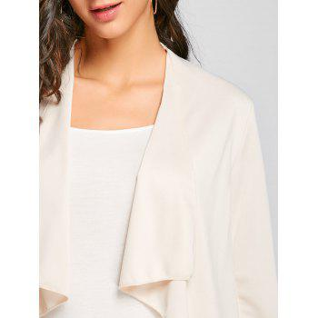 Draped Open Front Asymmetrical Cardigan - APRICOT M