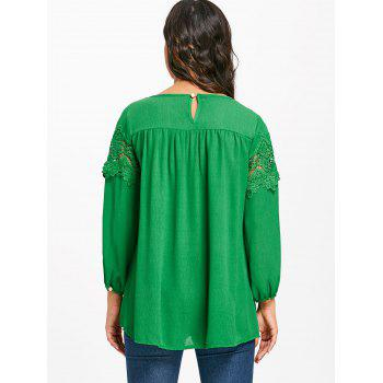 Crochet Lace Insert High Low Blouse - GREEN M