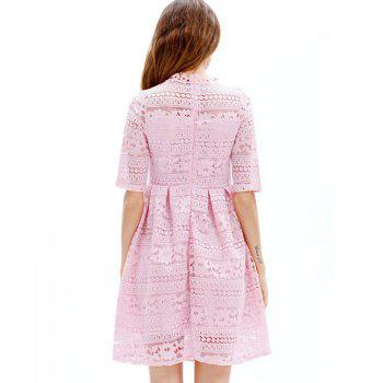 Mini Lace Embroidered A Line Dress - PINK L