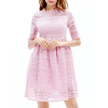 Mini Lace Embroidered A Line Dress - PINK PINK
