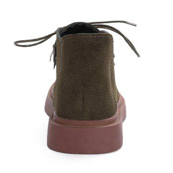Faux Suede Round Toe Ankle Boots - KHAKI 38