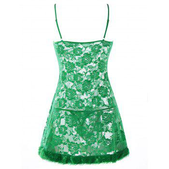 Bowknot Faux Fur Panel Sheer Babydoll - GREEN ONE SIZE