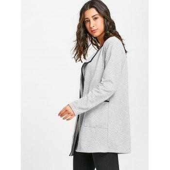 Contrast Bordure Pockets Open Front Cardigan - GRAY M