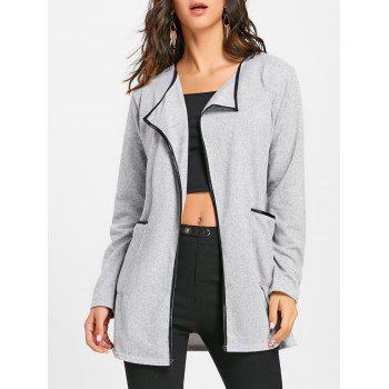 Contrast Bordure Pockets Open Front Cardigan - GRAY GRAY