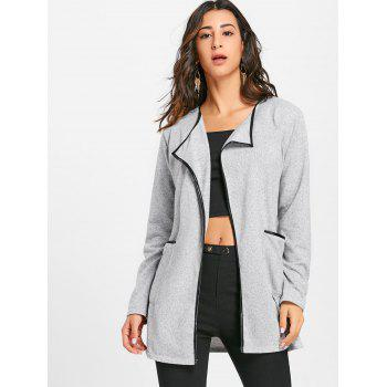 Contrast Bordure Pockets Open Front Cardigan - GRAY XL