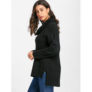 Cowl Neck Side Slit Knitted Sweater - BLACK L