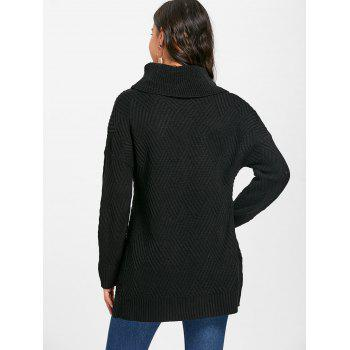 Cowl Neck Side Slit Knitted Sweater - BLACK BLACK