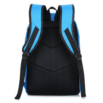 Color Block Print Letter Backpack - BLUE