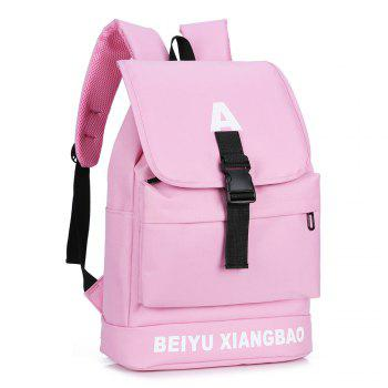 Letter Print Buckle Strap Backpack -  PINK