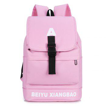 Letter Print Buckle Strap Backpack - PINK PINK
