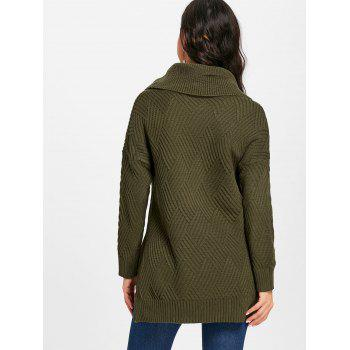 Cowl Neck Side Slit Knitted Sweater - ARMY GREEN M
