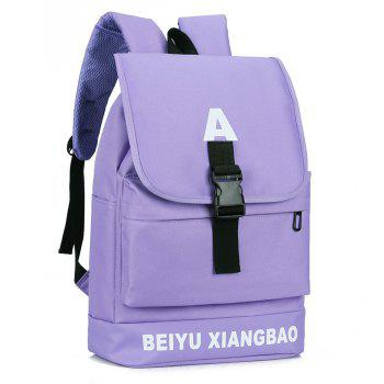 Letter Print Buckle Strap Backpack -  CERULEAN