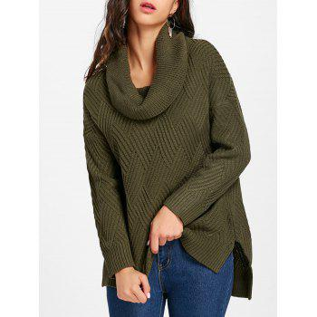 Cowl Neck Side Slit Knitted Sweater - ARMY GREEN ARMY GREEN