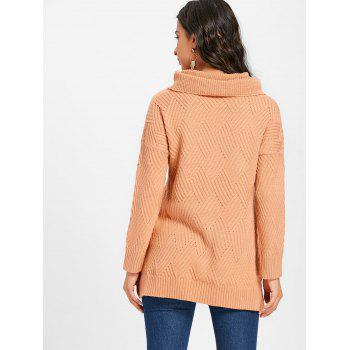 Cowl Neck Side Slit Knitted Sweater - PINKBEIGE 2XL