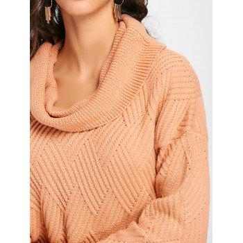 Cowl Neck Side Slit Knitted Sweater - PINKBEIGE XL