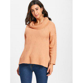 Cowl Neck Side Slit Knitted Sweater - PINKBEIGE L