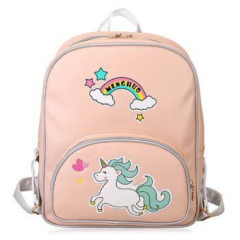 Rainbow Unicorn Color Block Backpack - PINK PINK