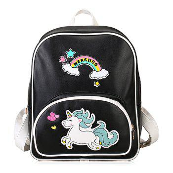 Rainbow Unicorn Color Block Backpack - BLACK BLACK