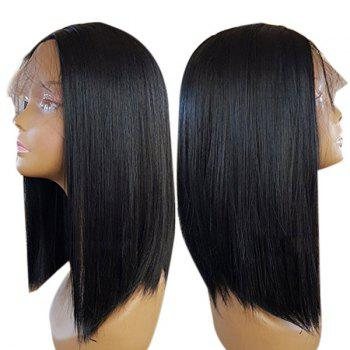 Lace Front Medium Center Parting Straight Synthetic Wig - BLACK