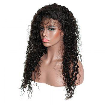 Long Side Parting Fluffy Kinky Curly Synthetic Lace Front Hair - BLACK