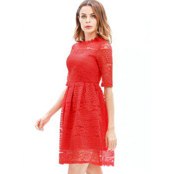 Mini Lace Embroidered A Line Dress - RED S