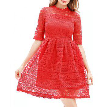 Mini Lace Embroidered A Line Dress - RED RED