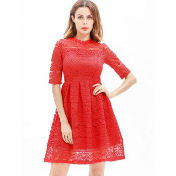 Mini Lace Embroidered A Line Dress - RED M