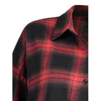 Plus Size Button Up Check Shirt - CHECKED 4XL