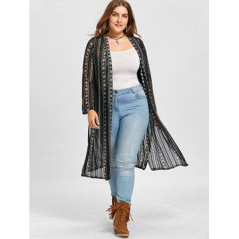 Floral Print Collarless Plus Size Coat - BLACK BLACK