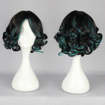 Short Side Bang Highlight Fluffy Curly Synthetic Wig - BLACK AND GREEN BLACK/GREEN