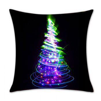 Colored Christmas Tree Printed Throw Pillow Case - BLACK W18 INCH * L18 INCH