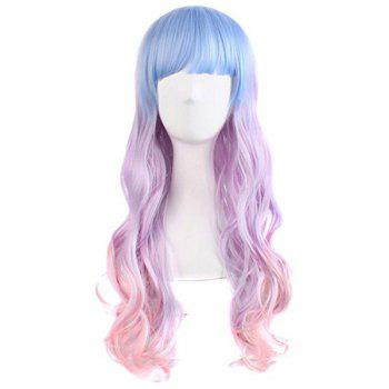 Long Full Bang Wavy Colormix Synthetic Cosplay Wig - BLUE/PINK