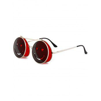 Cute Smiling Face Embellished Flip-open Circle Shaped Sunglasses - RED RED