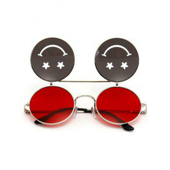 Cute Smiling Face Embellished Flip-open Circle Shaped Sunglasses - RED