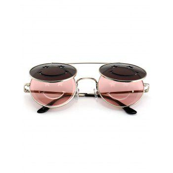 Cute Smiling Face Embellished Flip-open Circle Shaped Sunglasses - LIGHT PINK