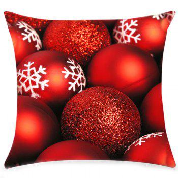 Christmas Glitter Balls Print Linen Sofa Pillowcase - RED W18 INCH * L18 INCH