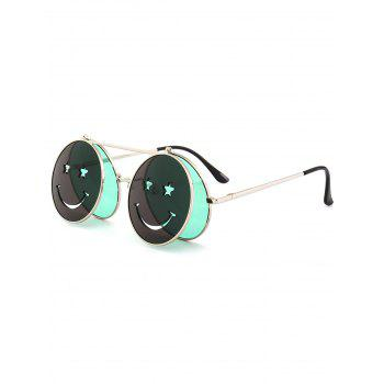 Cute Smiling Face Embellished Flip-open Circle Shaped Sunglasses - GREEN GREEN