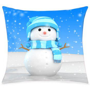 Snowy Christmas Snowman Print Decorative Linen Sofa Pillowcase - COLORMIX COLORMIX