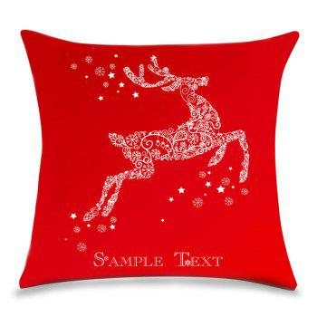 Christmas Snowflakes Deer Print Linen Sofa Pillowcase - RED RED